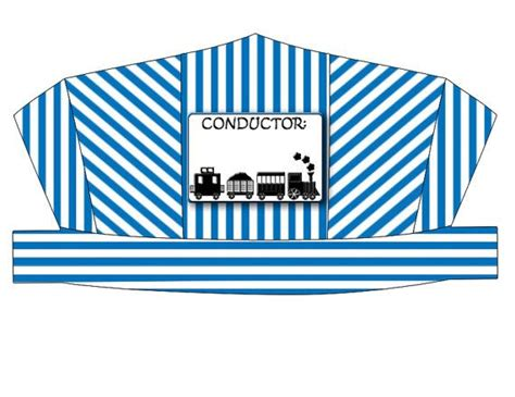 conductor hat template blue striped printable conductor s hat by