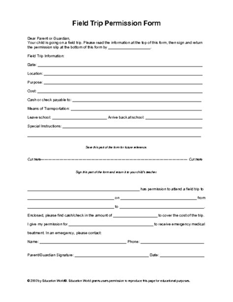 field trip form template field trip permission slip template education world