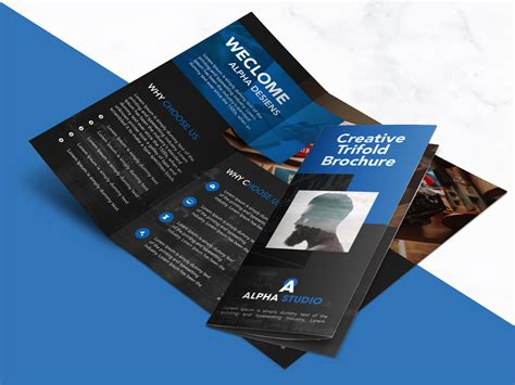 brochure templates free psd creative agency trifold brochure free psd template