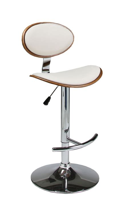 Hydraulic Bar Stools Joffrey Hydraulic Lift Bar Stool Chrome Ivory Walnut