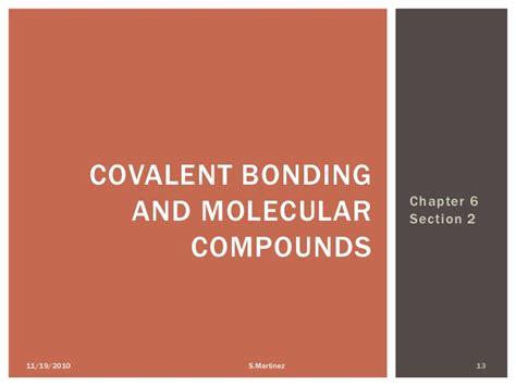 section 6 2 covalent bonding chemical bonding chapter 6
