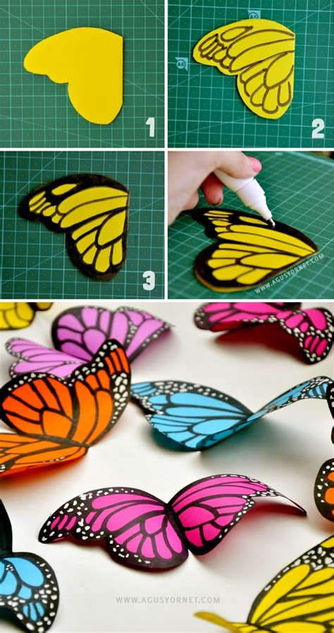 Paper Crafts Tutorials - diy paper butterflies