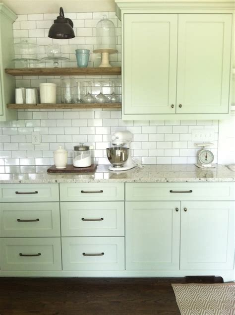 kitchens with shelves green light green cabinets cottage kitchen benjamin moore