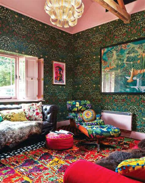bohemian interiors  color  interior decorating ideas