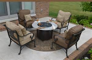 Chat Set Patio Furniture Amalia 4 Person Luxury Cast Aluminum Patio Furniture Chat Set W Pit And Stationary Chairs