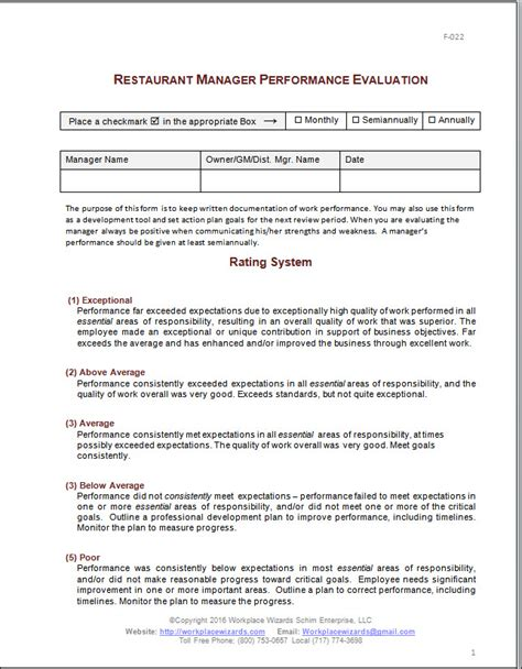 Restaurant Manager Performance Evaluation Form Performance Review Template For Managers