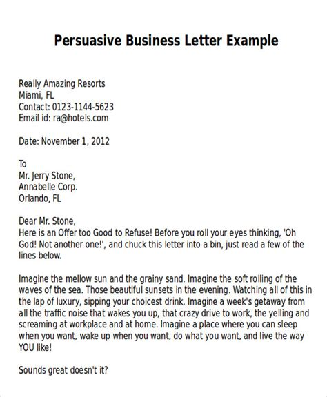 Persuasive Letter Introduction Exle Sle Persuasive Business Letter 7 Exles In Word Pdf