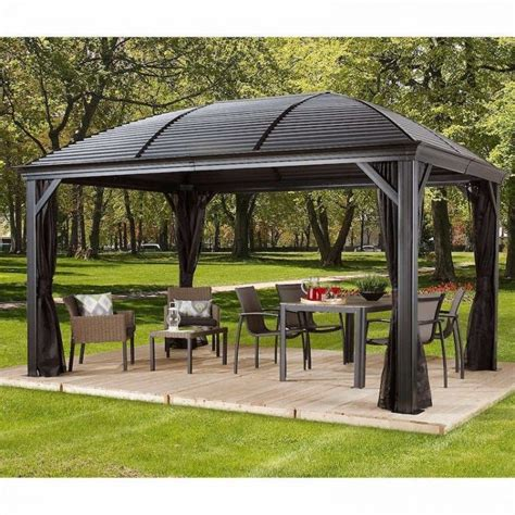 Metal Patio Gazebo 10 X 14 Hardtop Gazebo Metal Steel Aluminum Roof Post Outdoor For Patio Sofa Set Gazebos