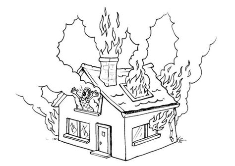Coloring Page Of House On Fire | house on fire coloring pages