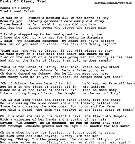 banks lyrics traditional song banks of claudy trad with chords tabs