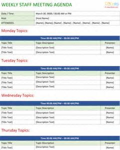 Weekly Meeting Agenda Template by Staff Meeting Agenda Template Write An Effective Agenda