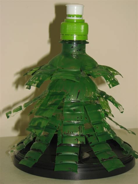 reuse plastic bottles to make a recycled christmas tree