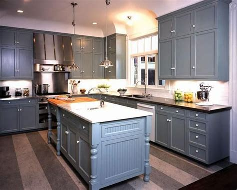 Blue Gray Cabinets Kitchen Kitchens Gray Blue Shaker Kitchen Cabinets Black Granite Countertops Blue Gray Kitchen Island