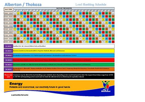 Load Shedding Schedule From Today by New Load Shedding Schedule 2015 Alberton