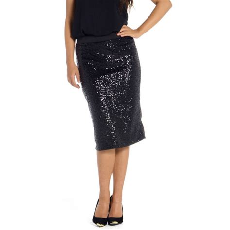 damned delux s sequin pencil skirt black womens
