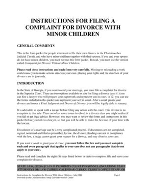 Muscogee County Ga Court Search Complaint For Divorce Muscogee Countycourt Fill Printable Fillable Blank