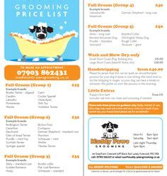 grooming price list pet cards grooming for dogs pets and cards
