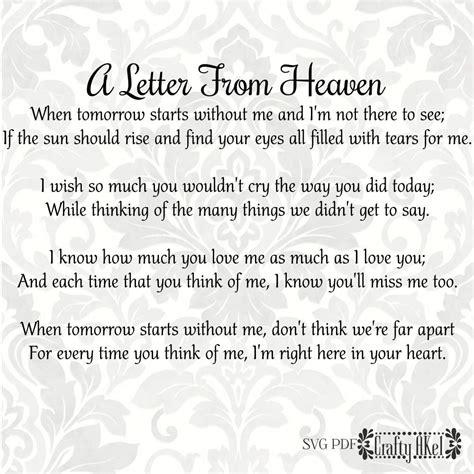 letter  heaven poem bereavement mourning grief