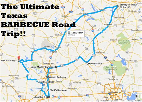 texas hill country road trip map texas barbecue road trip