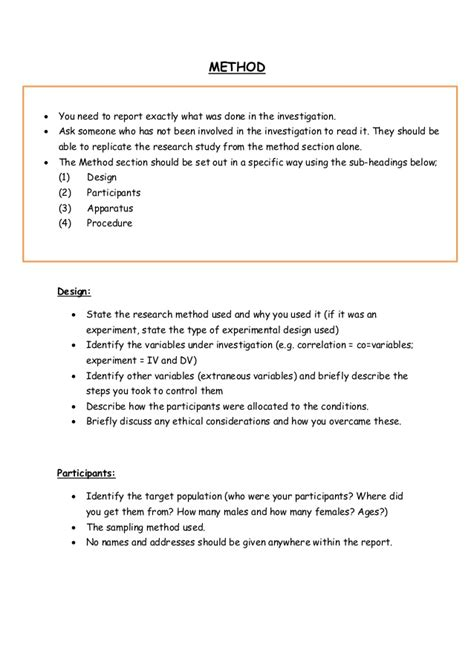 design of experiment report exle psychology report template