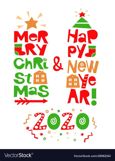 holiday quotes happy  year  merry christmas vector image
