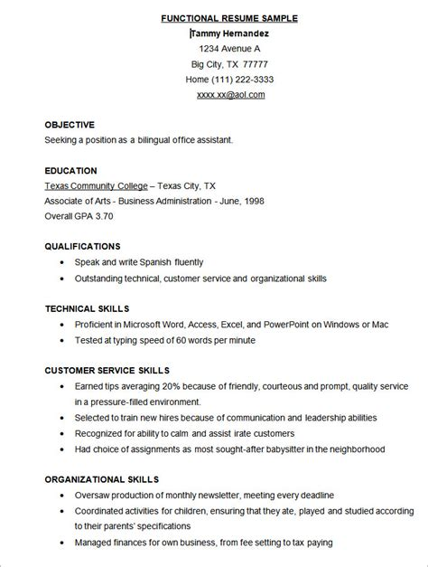 Functional Resume Template Word by Microsoft Word Resume Template 49 Free Sles