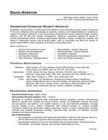 Resume Template For It by Resume Exle It Security Careerperfect
