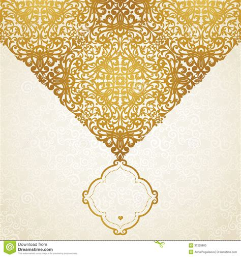 Place Cards For Wedding Template – Vector Lace Card In East Style On Moroccan Seamless