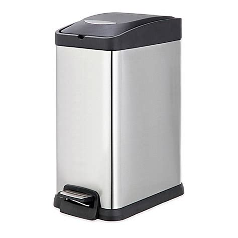 bed bath and beyond garbage cans salt stainless steel rectangular 15 liter pedal trash bin