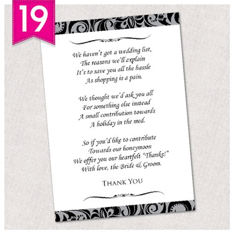personalised wedding poem cash money cards free draft