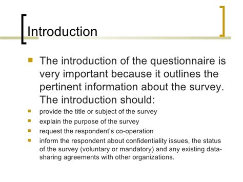 Questionnaire Introduction Letter Exle Edu 702 Presentation Questionnaire