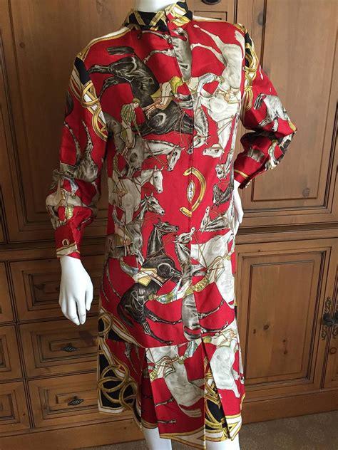 Hermes Scraf Dress hermes vintage 1960 s silk dress in ascot 1831 scarf print