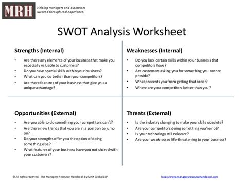 swot analysis worksheet template swot template with suggested questions