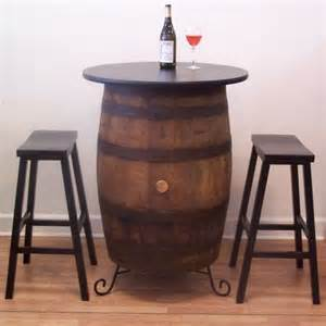 Wine Barrel Bar Table Vintage White Oak Barrel Table 2 Bar Stools Wine Tasting Bistro B