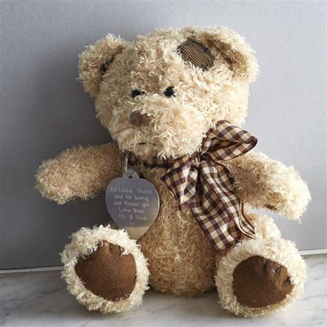 personalised teddy bear in a gift tin buy from prezzybox com