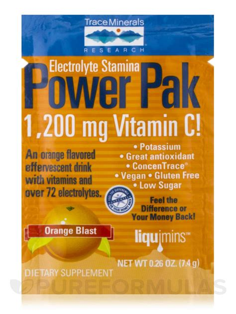 power apk electrolyte stamina power pak with 1200 mg vitamin c orange blast flavor box of 32 packets