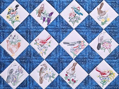 State Quilts by Embroidered State Birds And Flowers Quilt Superb Made