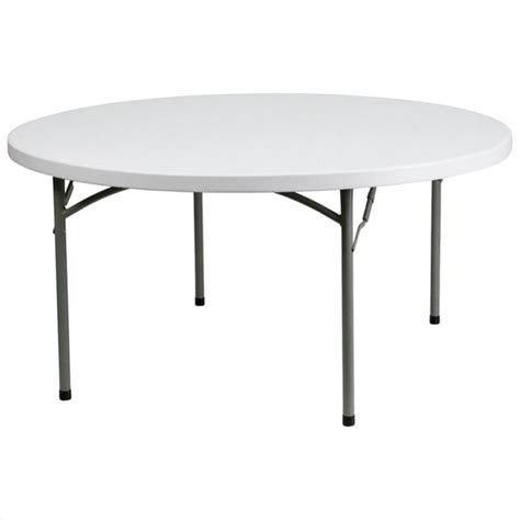 60 Inch Round Granite Folding Table in White   DAD YCZ
