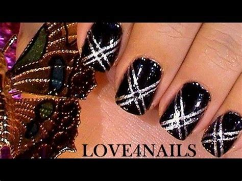 easy nail art black and silver quick and easy black silver short nail art design