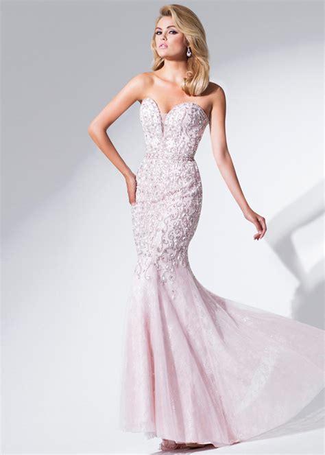 long sweetheart sheer insert beaded light blush prom dress