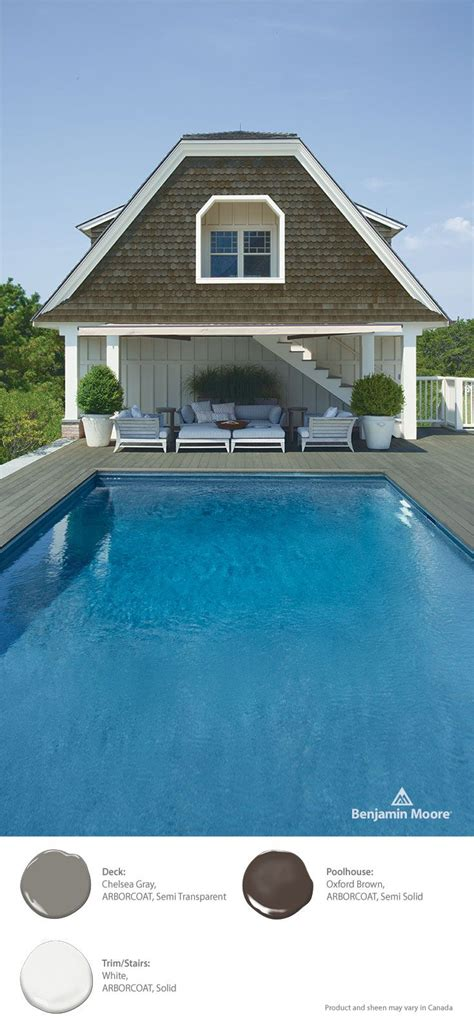 a cool inviting poolside look featuring benjamin arborcoat in chelsea gray oxford brown