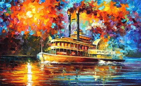 new painting new orleans river palette knife painting on canvas by