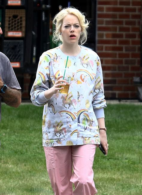 emma stone on the set of the new tv show maniac in emma stone on the set of maniac in new york 08 31 2017