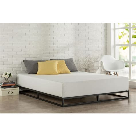 modern metal bed zinus modern studio platforma queen metal bed frame hd mbbf 6q the home depot