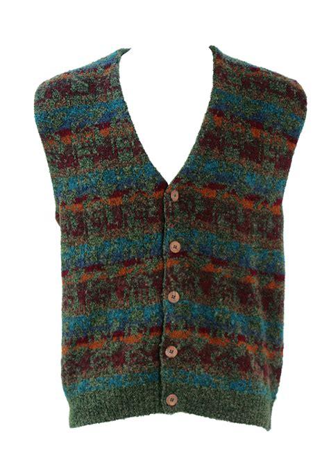 blue pattern waistcoat woodland green knit waistcoat with ochre burgundy blue