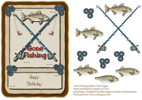 printable birthday cards fishing gone fishing birthday card topper cup87602 99 craftsuprint