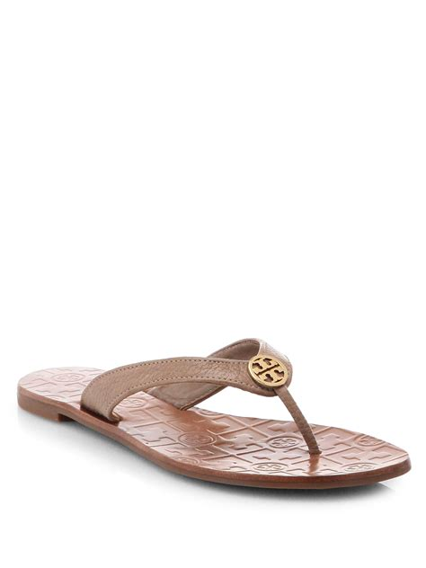 sandals signature burch leather sandal with signature logo in
