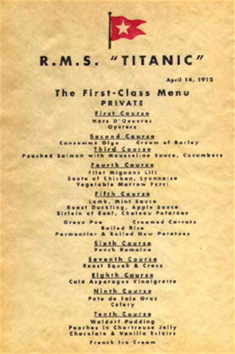 titanic first class menu ebl titanic recipes the passengers and crew ate well