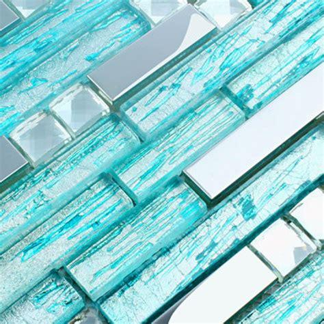 aqua glass silver metal tiles backsplash stainless
