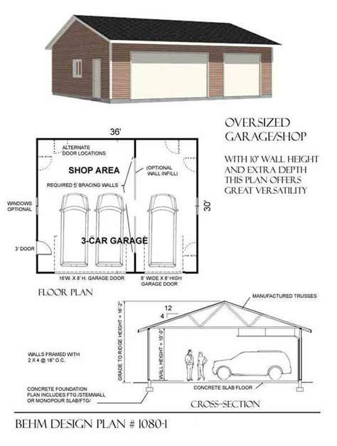 3 bay garage plans oversized 3 bay garage by behm design plan 1080 1 home